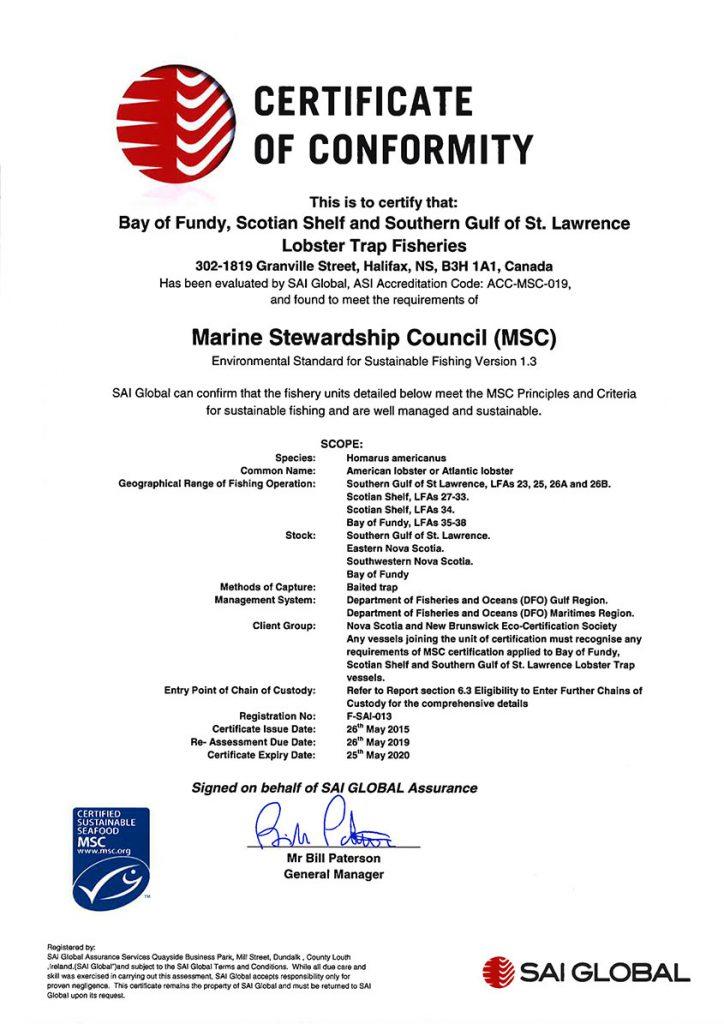 MSC Certificate Of Conformity