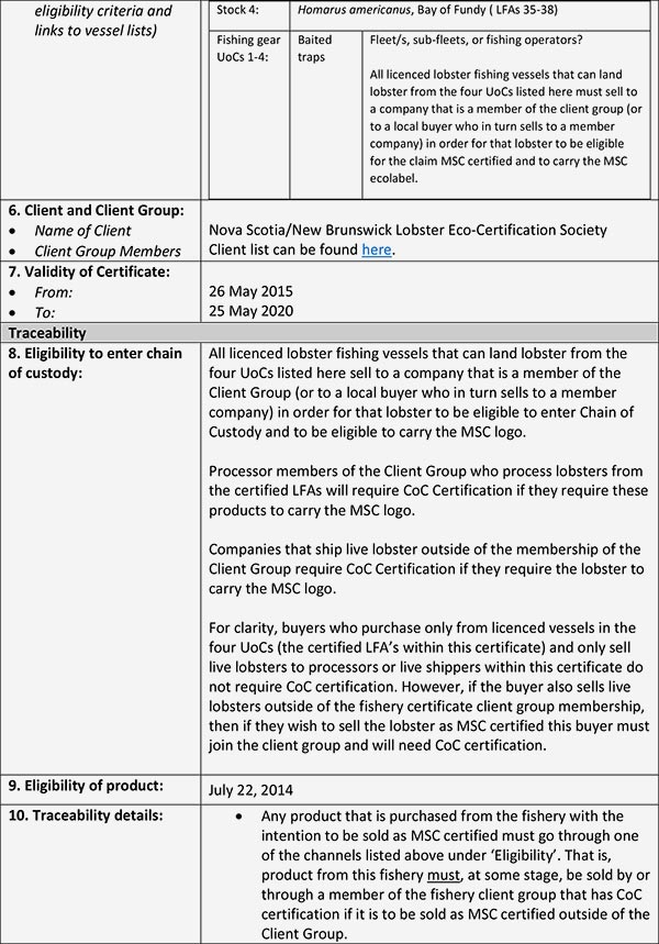 MSC Certification Info Sheet 2